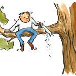 Homme qui coupe la branche